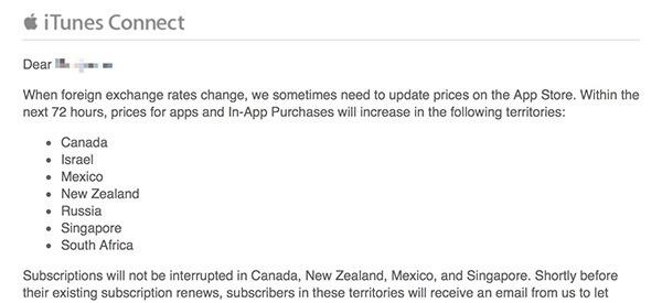 app store prices notif Prezzi in aumento su App Store in determinati paesi