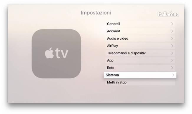 Impostazioni Apple TV 4