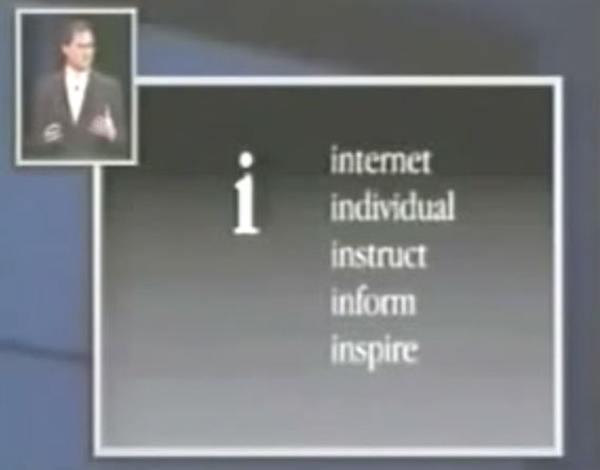 jobs slide imac Il significato della lettera i di iPhone ed altri prodotti Apple