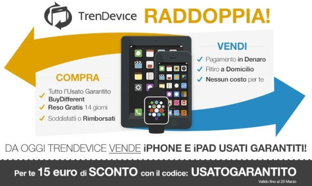 trendevice raddoppia 620x370 TrenDevice: compra e vendi iPhone e iPad usati dal sito n.1 in Italia (coupon di 15 €)