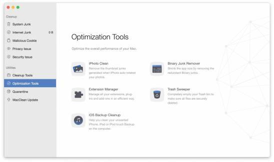 optimization tools MacClean: Tieni pulito il tuo Mac con il tool 7 in 1
