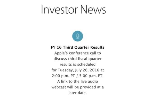 q32016earnings 620x381 Apple rilascerà i dati finanziari per il Q3 2016 a fine Luglio