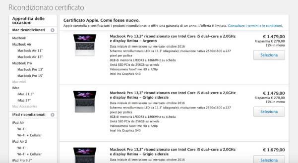 schermata 2017 03 27 alle 13.45.20 MacBook Pro 2016 ricondizionati approdano nel negozio online di Apple