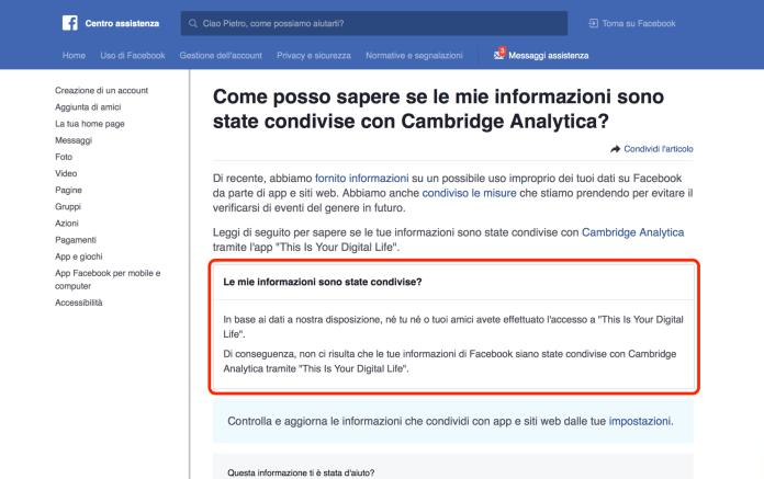 italiamac schermata 2018 04 11 alle 12.52.18 Come controllare se le informazioni private di Facebook siano state condivise con Cambridge Analytica