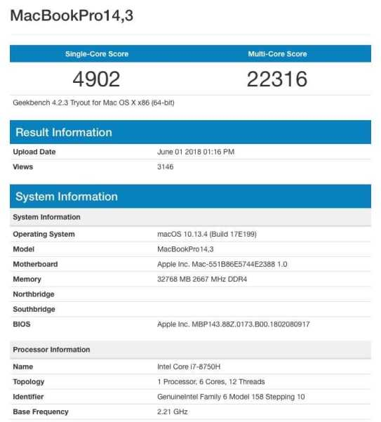 italiamac macgpic 1528106046 32777546602027 co jpt Apparso Benchmark MacBook Pro con chip Cofee Lake e 32GB di RAM