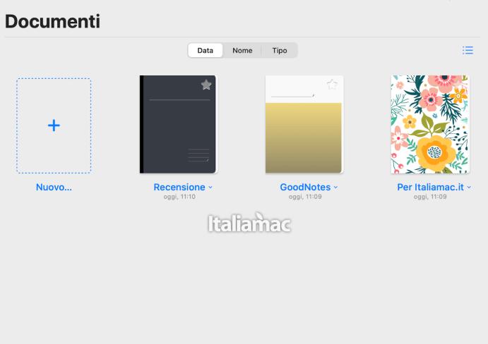 Vista dei taccuini di GoodNotes5 su macOS