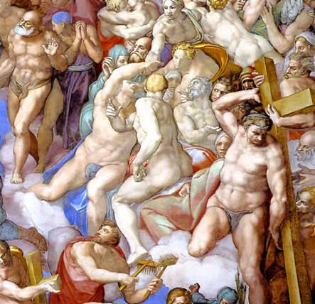443x428 The Saved Rejoice Michelangelo the Last Judgement