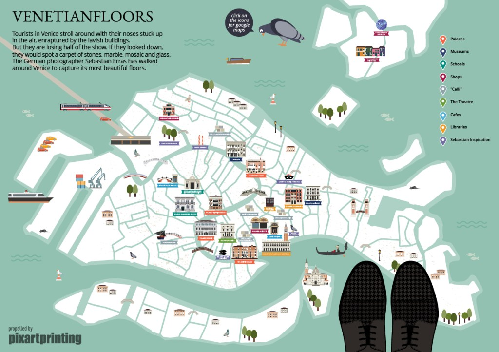 venice map, venetian floors, instagram venice, selfeet,