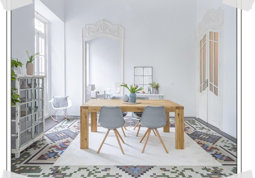 pastel home, pastel interior, home tour spain, pastel furniture, italianbark interior design blog,, mosaics floor, living room, grey chairs living, wooden table living