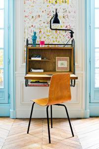 colourful apartment in paris, paris interior, turquoise interior, italianbark interior design blog, home desk corner, vintage desk