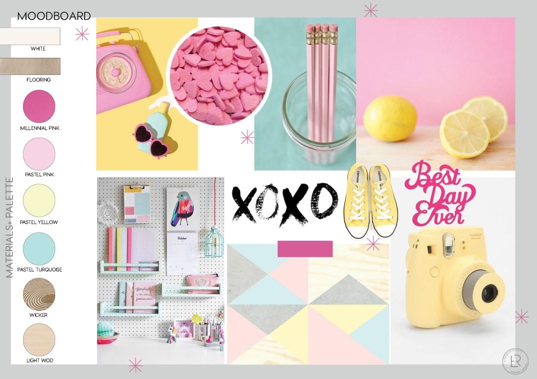 girl bedroom color decor, girl teen bedroom ideas, color block paint, millennial pink, pastel paint