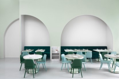 cafe design in china, the budapest cafe, pastel colors interior, wes anderson design