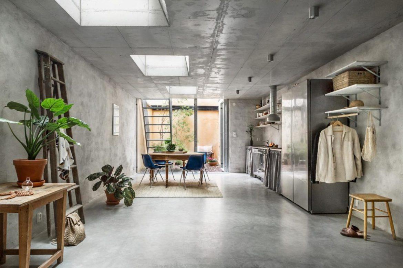 Concrete Walls Interior Trend in a Scandinavian Home Tour