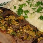 Rosmarino e' Aglio Bistecca con Risotto Quattro Formaggi (Rosemary and Garlic Steak with Four Cheese Risotto)