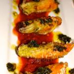 Stuffed Fried Zucchini Blossoms with Fresh Tomato Sauce and Basil Pesto