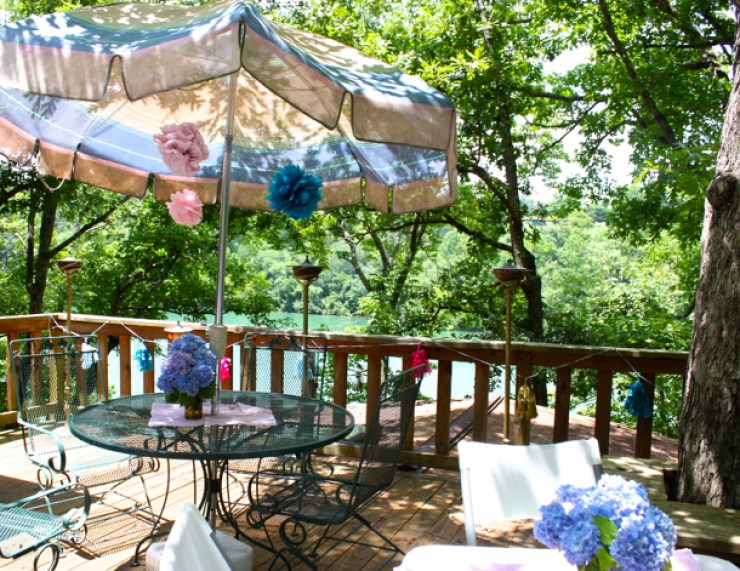 Decorated deck overlooking lake in Tennessee