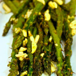 Roasted Asparagus with Roasted Garlic and Almond Vinaigrette