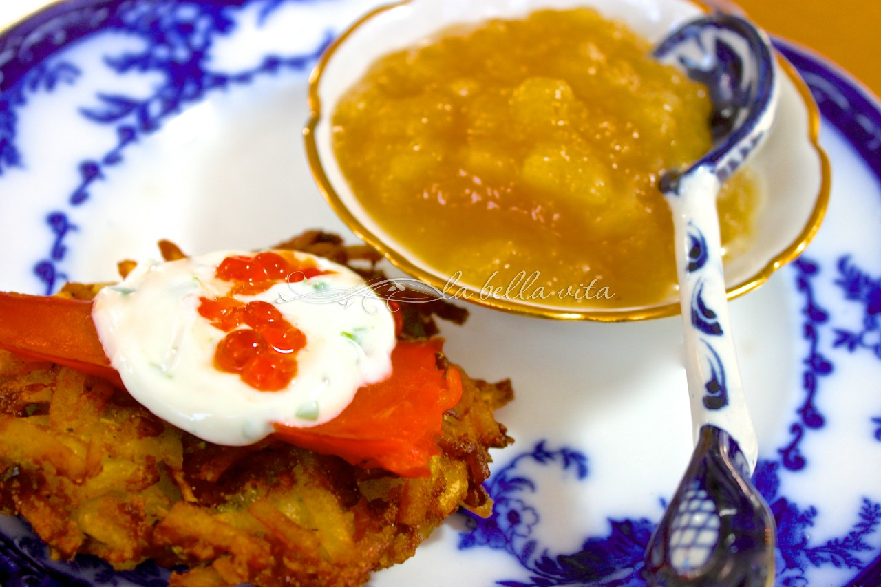 Best Potato Latkes with Italian Herb Yogurt Sauce