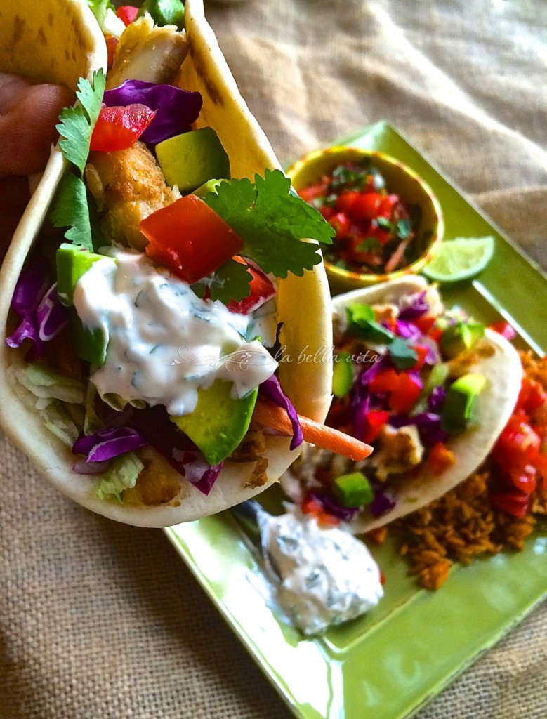 Baja Fish Tacos with Chipotle, Cilantro & Lime Crema