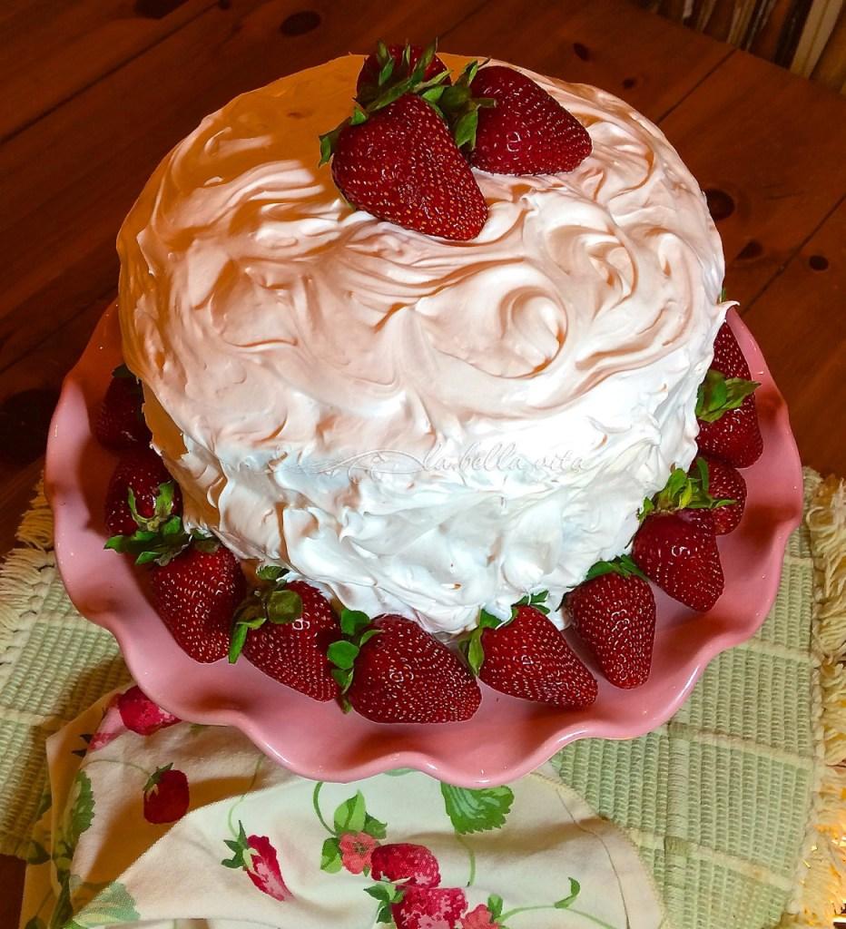 Strawberry Layer Cake with Italian Meringue Buttercream