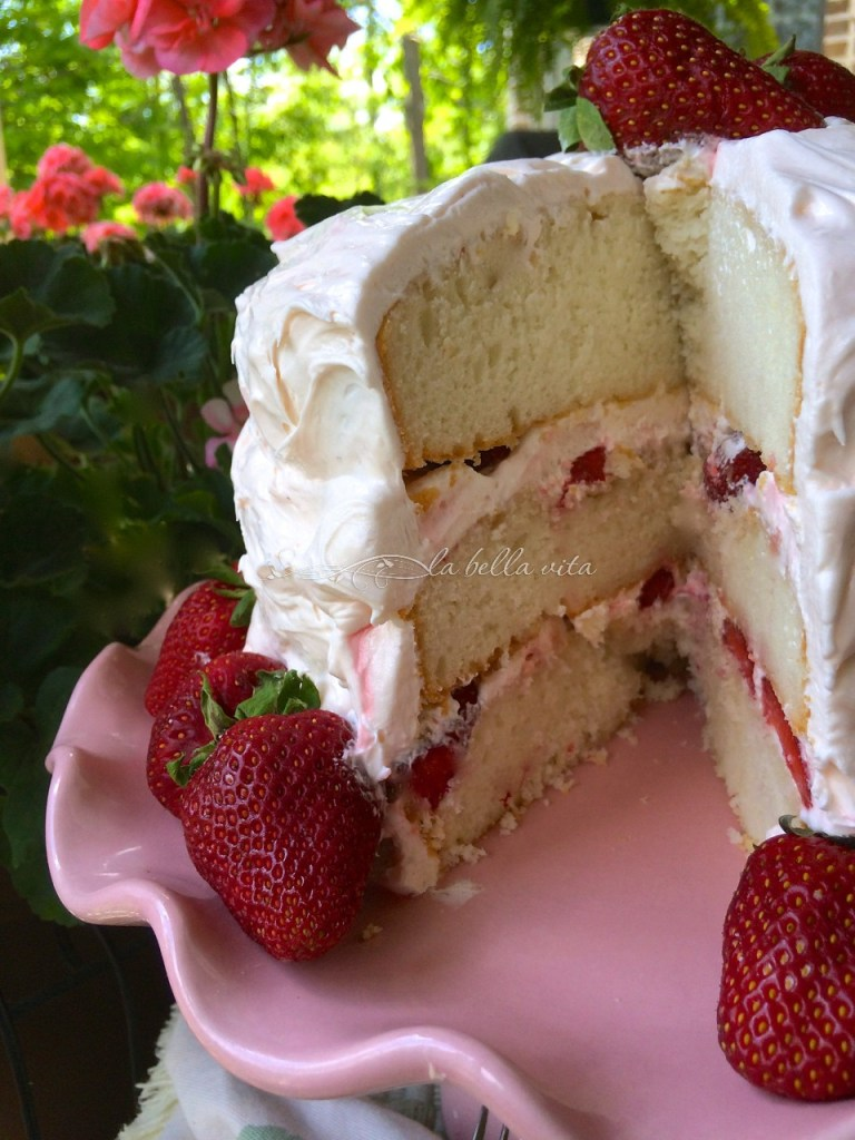 Strawberry Layer Cake with Italian Meringue Buttercream