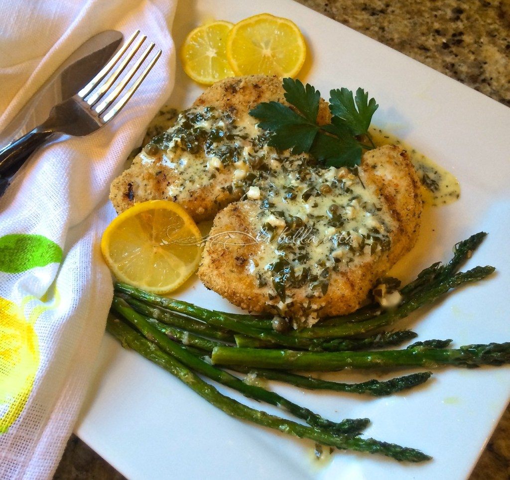 Grilled Italian Swordfish with Cream and Lemon Caper Sauce