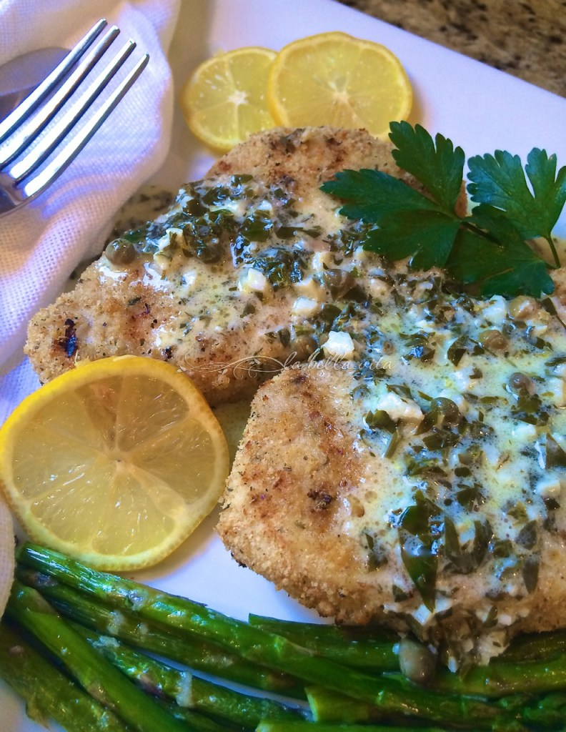 Grilled Italian Swordfish with Lemon Cream and Caper Sauce