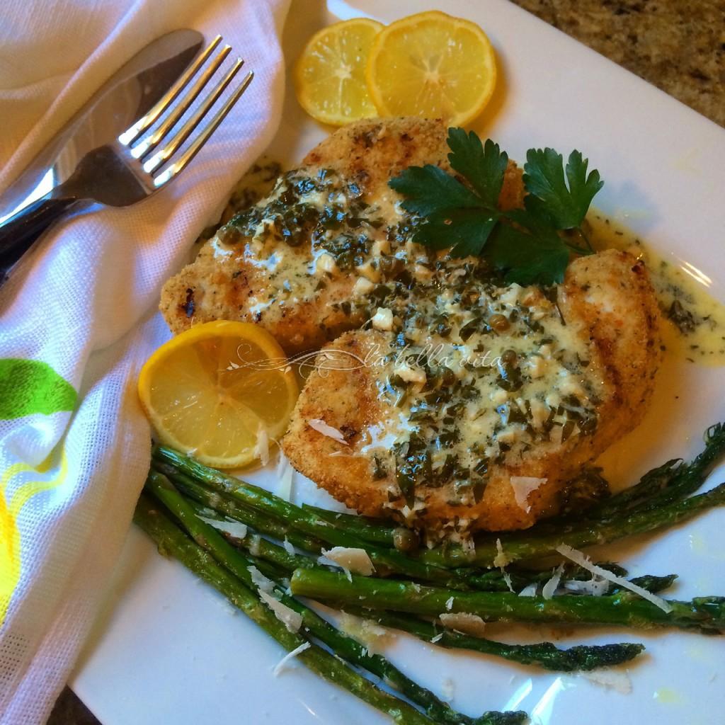 Grilled Italian Swordfish with Creamy Lemon Caper Sauce