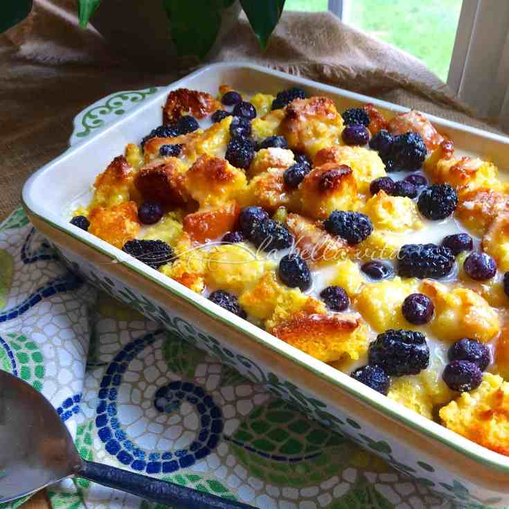 Blackberry and Blueberry Bread Pudding w/ Limoncello Glaze