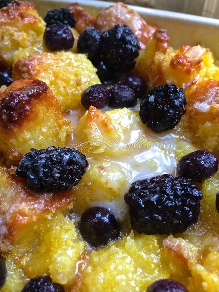 blackberry and blueberry bread pudding with limoncello glaze