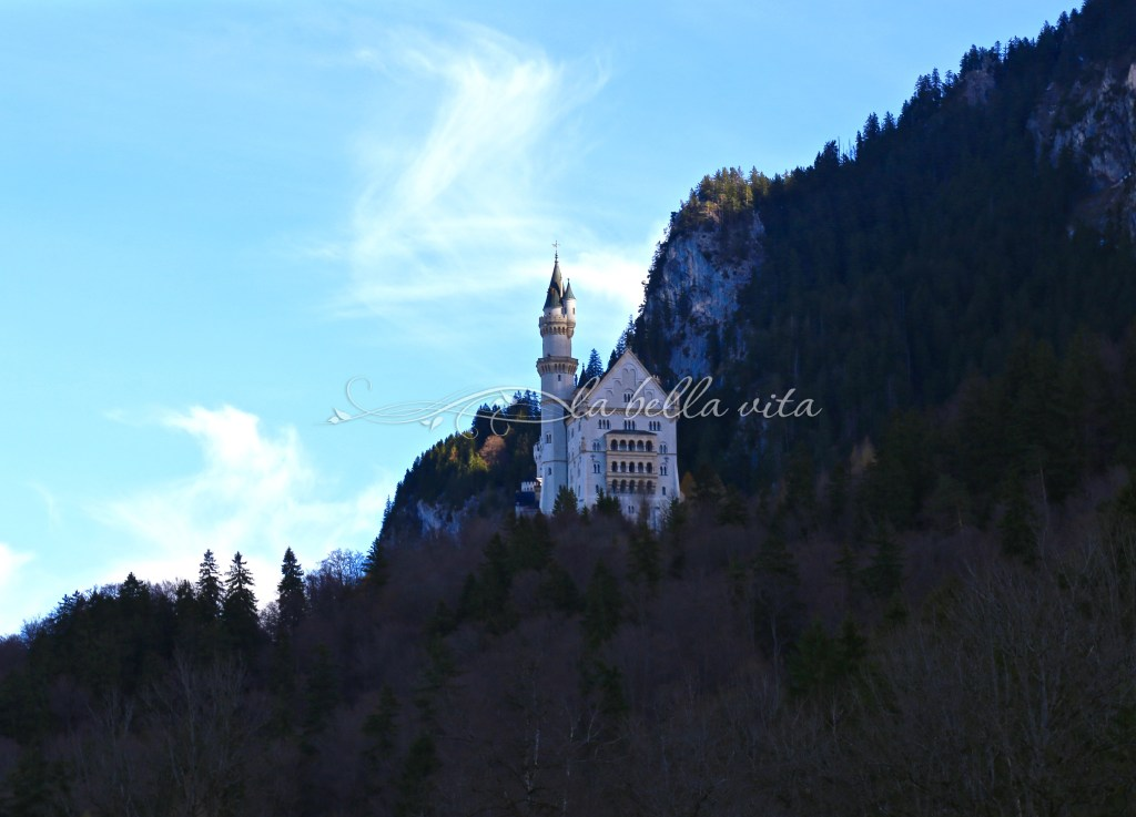 the castle is set high on the side of an Alpine mountain -- it's quite a hike up!