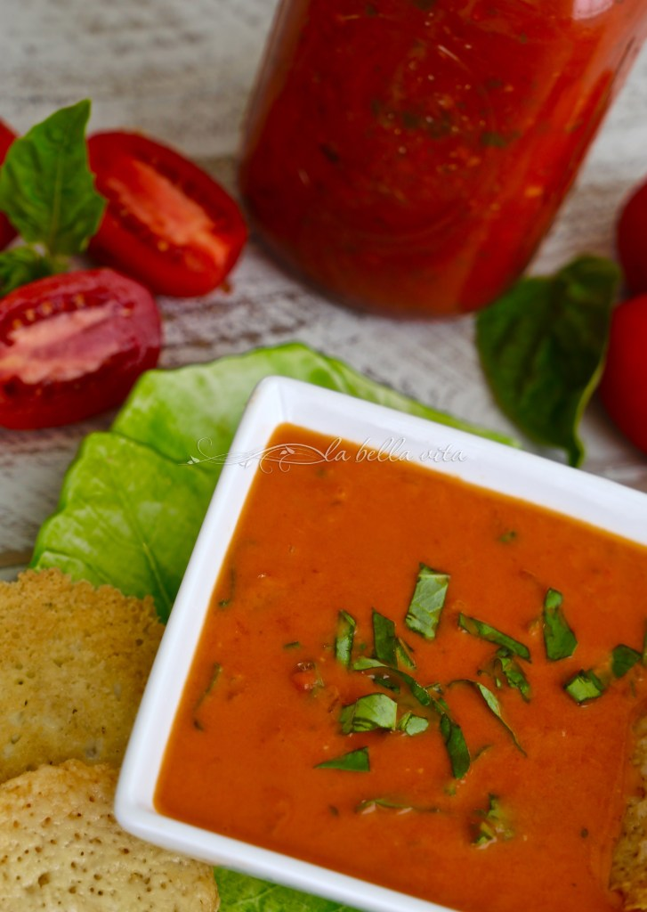 Roasted Tomato Bisque with Parmesan Crisps