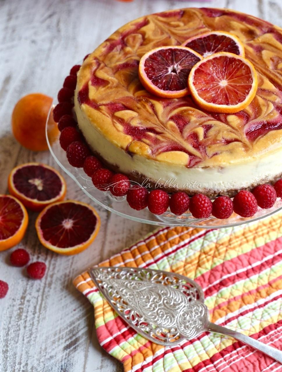 Blood Orange and Raspberry Swirl Cheesecake
