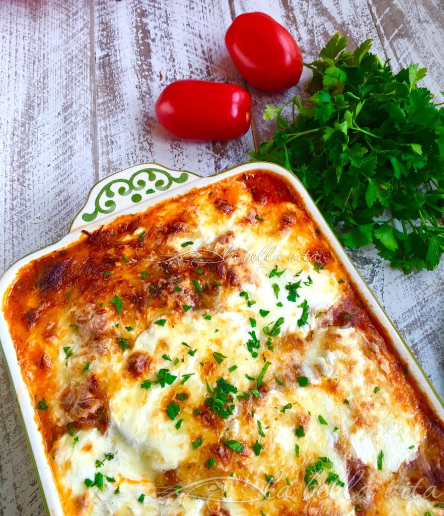 Baked Ravioli with Basil Marinara