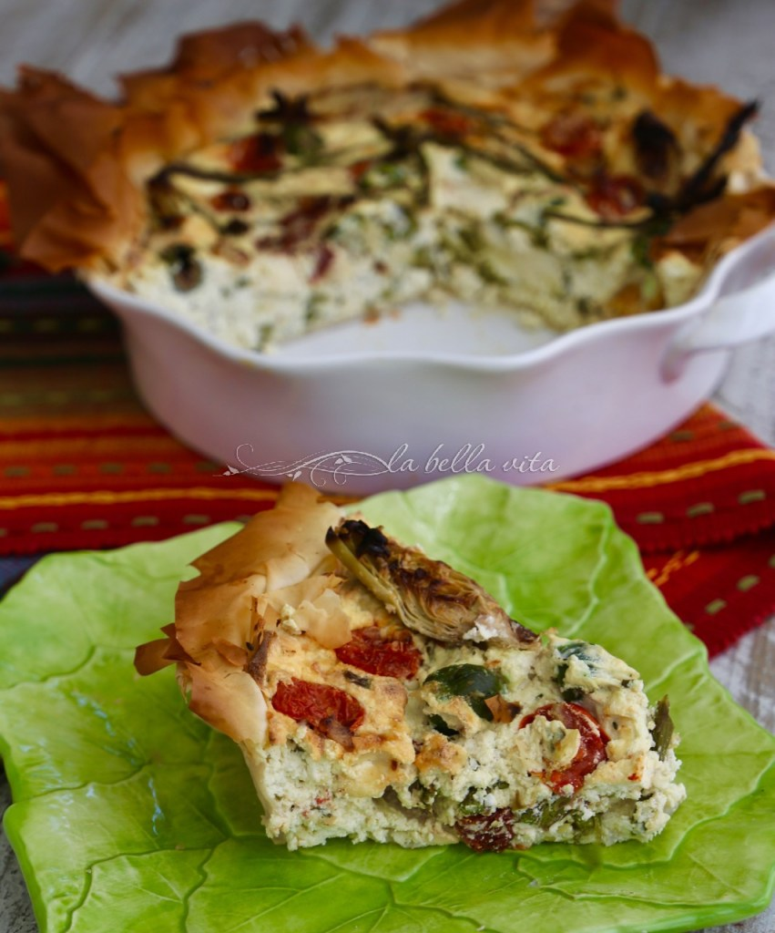 Italian Cheesy Artichoke and Asparagus Phyllo Pie #SundaySupper