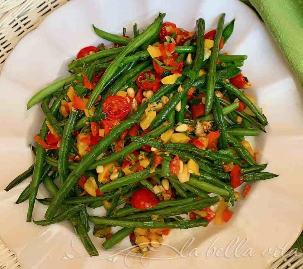 Roasted Haricots Verts and Red Peppers with Garlic
