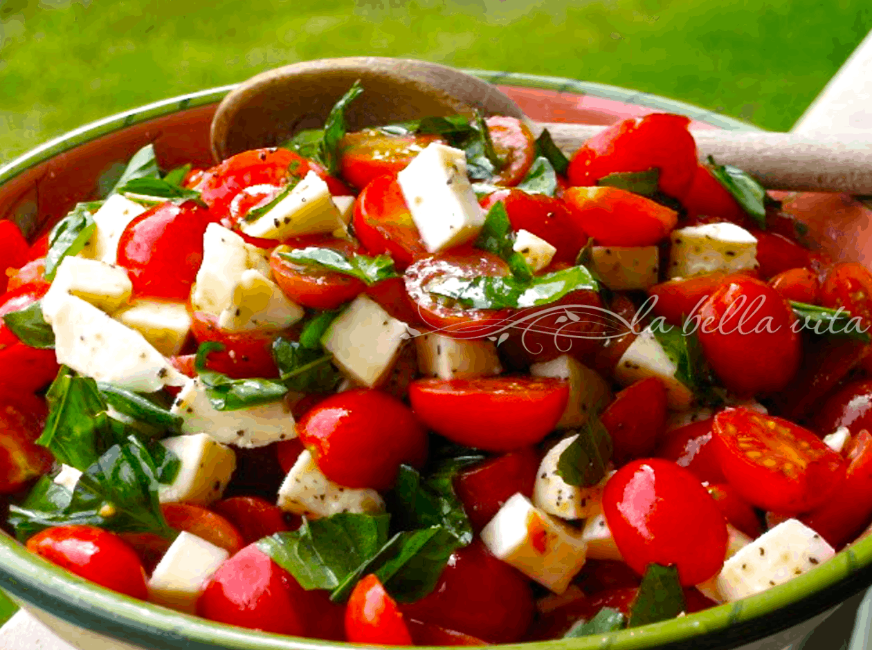 Roz S Caprese Salad With Grape Tomatoes Mozzarella Basil