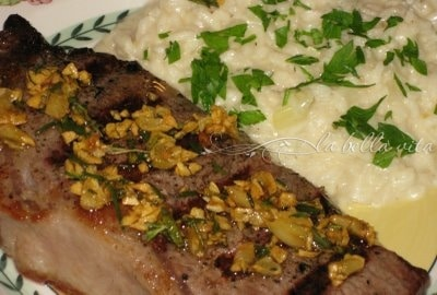 Rosmarino e' Aglio Bistecca con Risotto Quattro Formaggi (Rosemary & Garlic Steak with Four Cheese Risotto)