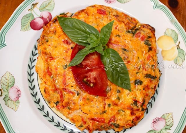 Heirloom Tomato Frittata with Basil and Parmesan