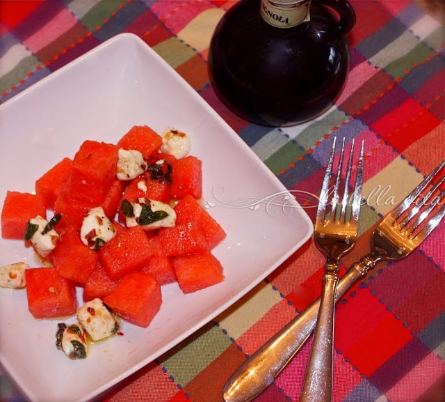 Watermelon Salad with Herb Marinated Goat Cheese Vinaigrette
