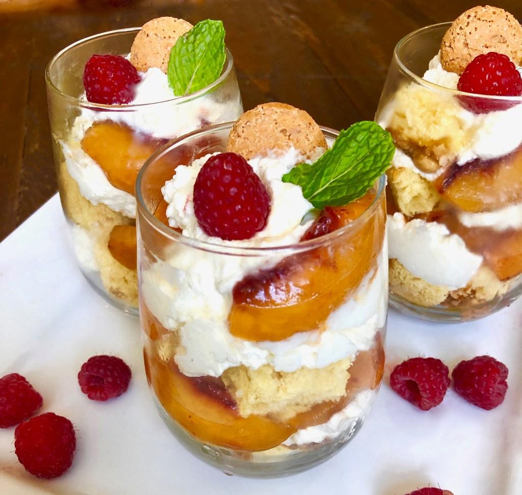 Peach Panettone Parfaits with Mascarpone Cream and Amaretti Cookies