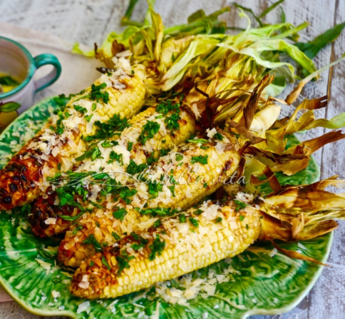Grilled Italian Basil Buttered Corn on the Cob