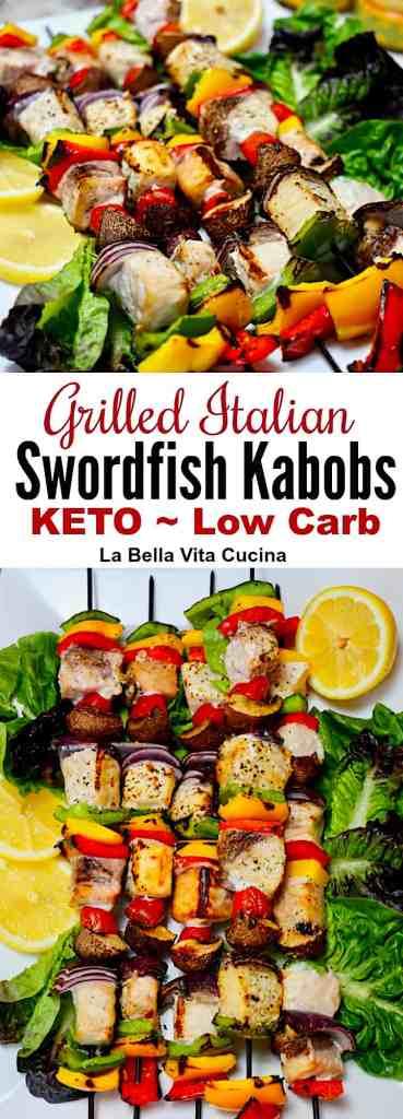 Keto Italian Grilled Swordfish Kabobs