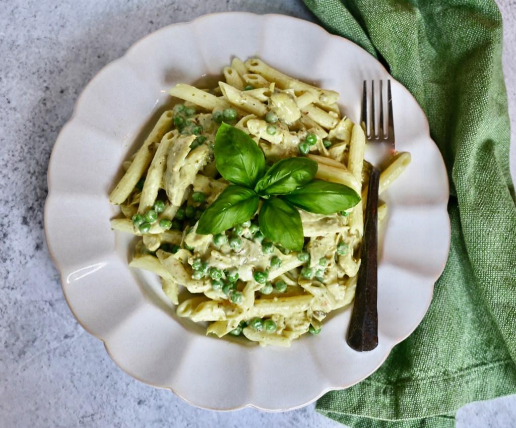 Creamy Artichoke, Pea, and Pesto Pasta Salad