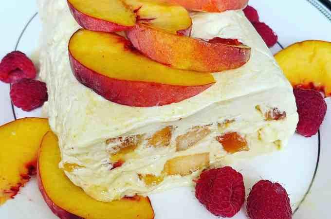 Peach Semifreddo with Raspberries and Honey Drizzle | La Bella Vita Cucina