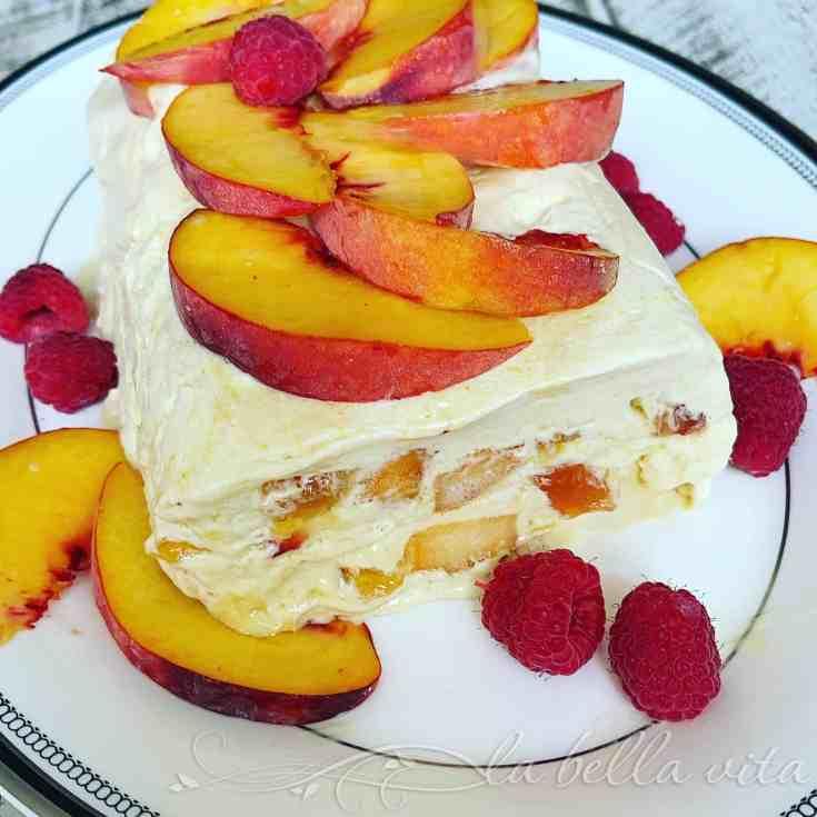 Peach Semifreddo with Raspberries and Honey Drizzle   La Bella Vita Cucina