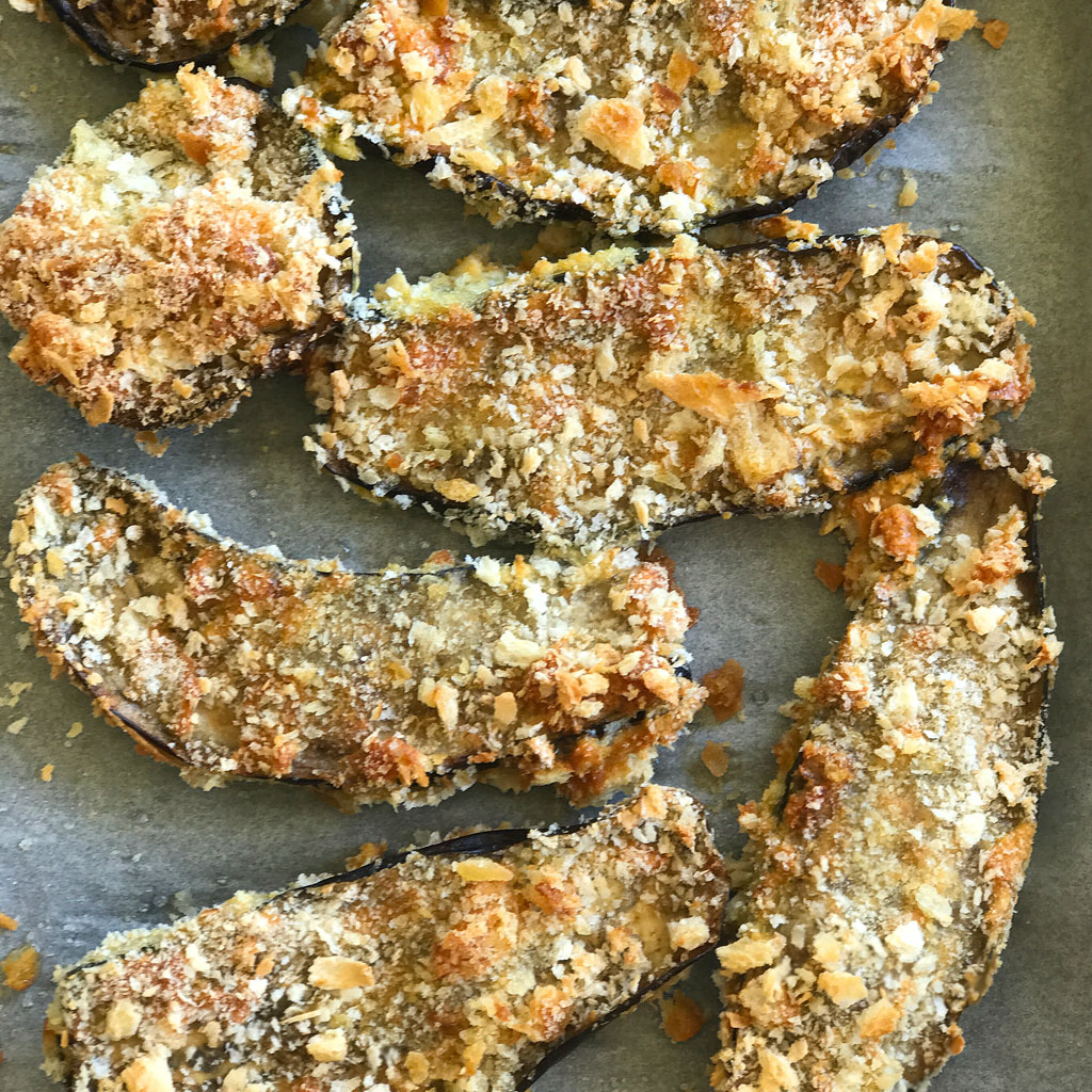 Breaded Eggplant Baked in Oven