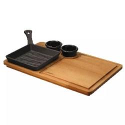 Padella grill con supporto legno