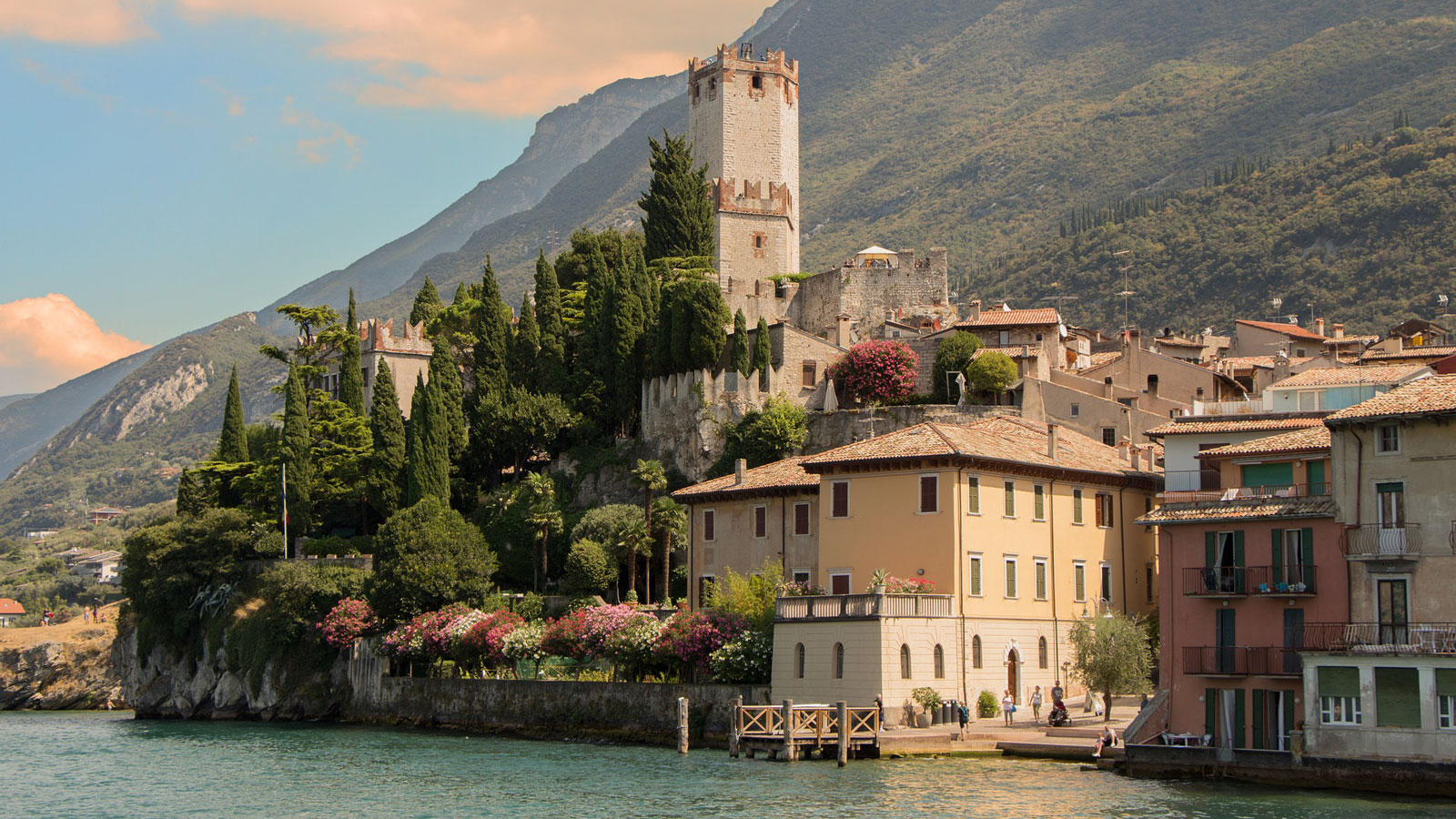 Italian castle and town by water