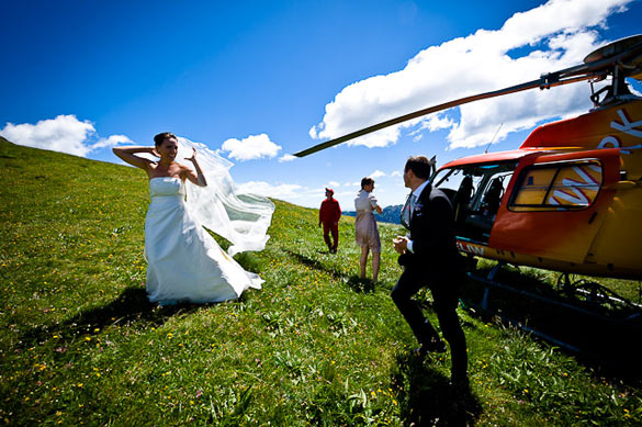 helicopter wedding in Italy